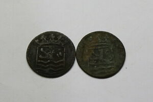 NETHERLANDS USA COLONIAL DUTCH NY SHIPWRECK DUIT 1737/90 B18 EEE18