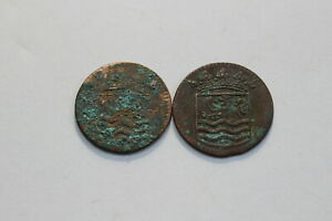 NETHERLANDS USA COLONIAL DUTCH NY SHIPWRECK DUIT 1737/44 B18 XH31