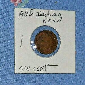 1900 INDIAN HEAD COPPER 1 CENT COIN PRIVATE COLLECTION NICE CLEAR
