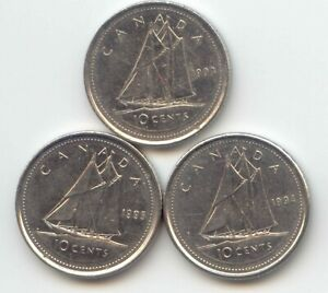 CANADA 1993 1994 1995 CANADIAN DIME TEN CENTS 10C EXACT COIN SET SHOWN