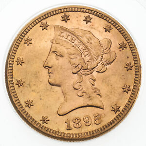 1895 $10 GOLD LIBERTY HEAD HALF EAGLE W/ MOTTO BU CONDITION  GREAT EARLY US GOLD