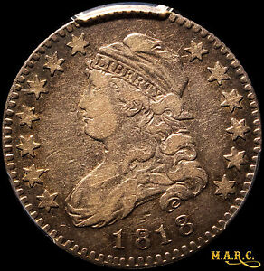 1818 VF20 PCGS 25C CAPPED BUST QUARTER TONING MAKES FOR NICE EYE APPEAL   MARC