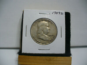 Click now to see the BUY IT NOW Price! 1949 D  BEN FRANKLIN  HALF DOLLAR  50  CENT PIECE  COIN  49D   GOOD GRADE