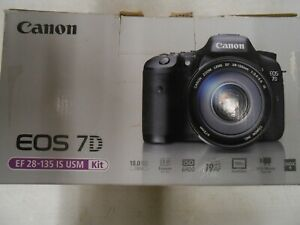 NEW  CANON EOS 7D 18MP DIGITAL SLR CAMERA WITH 28 135MM LENS KIT   3814B010