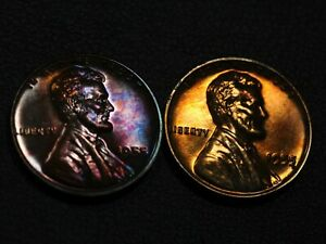 LOT OF 2 TONED 1955 PROOF LINCOLN WHEAT CENTS
