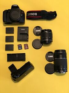 CANON EOS REBEL T6 18MP DIGITAL DSLR CAMERA 18 55MM/75 300MM   TONS OF EXTRAS