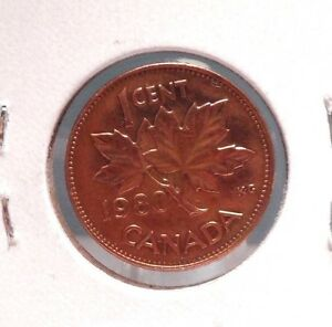 CIRCULATED 1980 1 CENT CANADIAN COIN