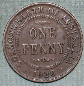 AUSTRALIA 1920 LARGE PENNY  TWO DOTS  6 PEARLS  COMBINED S. & H.