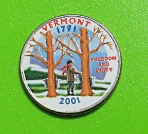 2001 D 25C VERMONT 50 STATES QUARTER   COLORIZED