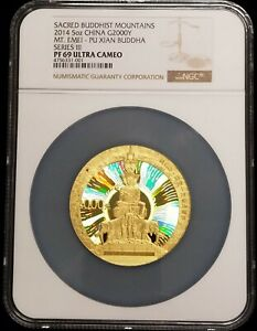 Click now to see the BUY IT NOW Price! 2014 CHINA 5 OZ SACRED BUDDHIST MOUNTAINS MT. EMEI PROOF GOLD COIN NGC PF69 UC