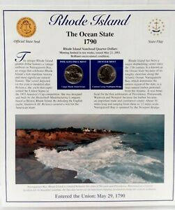 2001 RHODE ISLAND STATE QUARTERS /STAMPS PANEL BY POSTAL COMMEMORATIVE SOCIETY