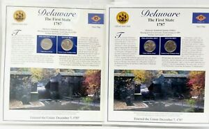 2X 1999 DELAWARE STATE QUARTERS & STAMPS PANEL POSTAL COMMEMORATIVE SOCIETY
