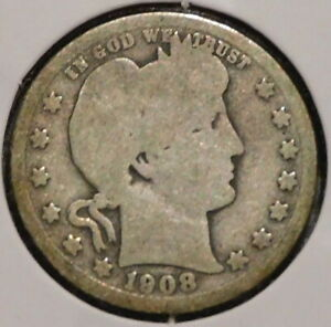 BARBER QUARTER   1908   HISTORIC SILVER    $1 UNLIMITED SHIPPING.