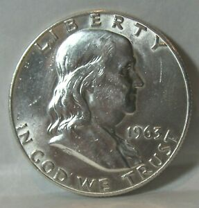 NICE HIGH GRADE 1963 D FRANKLIN SILVER HALF DOLLAR OLD US COIN