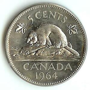 CANADA NICE ORIGINAL BU KEY DATE 1964 EXTRA WATER LINE 5 CENTS NICKEL