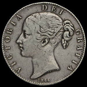 1844 QUEEN VICTORIA YOUNG HEAD SILVER CROWN STAR STOPS