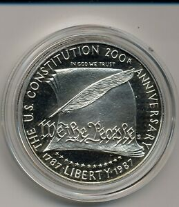 1987 S PROOF CONSTITUTION COMMEMORATIVE  SILVER DOLLAR IN MINT CAPSULE NO BOX