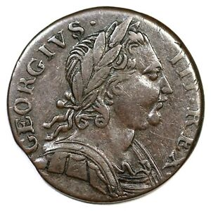 DATELESS OBV BROCKAGE IMMITATION GEORGE III FARTHING COLONIAL COOIN