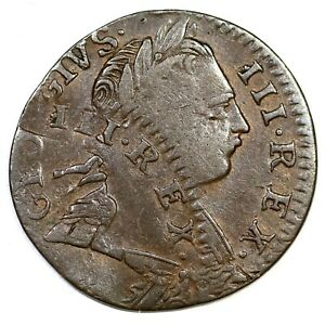 1775 DOUBLE STRUCK IMITATION GEORGE III FARTHING COLONIAL COIN