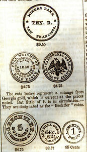 NEWSPAPER U.S.COINS SAN FRANSISCO CALIFORNIA GOLD $50 QUINTUPLE EAGLE MORE  1855