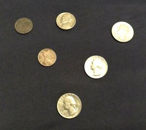 MIX LOT OF 5 OLD US COINS FROM 1909 & 1957 WHEAT PENNY 'S TO 1978 QUARTER