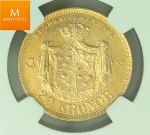 Click now to see the BUY IT NOW Price! 1876 ST SWEDEN 20 KRONOR NGC MS63