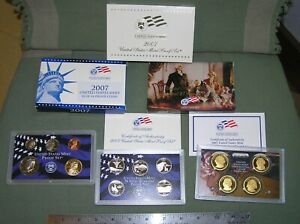 2007  S US MINT PROOF SET WITH STATEHOOD QUARTERS & PRESIDENTIAL $1   14 COINS