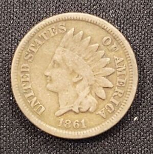1861 IHC INDIAN HEAD CENT CIRCULATED FINE CONDITION