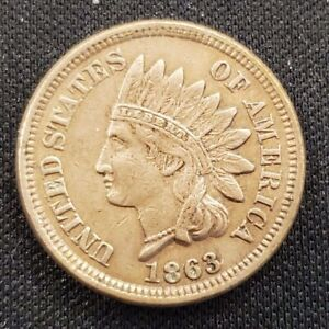 1863 IHC INDIAN HEAD CENT CIRCULATED EXTRA FINE CONDITION