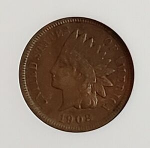 1908 S INDIAN HEAD ONE CENT 1C ANACS VF35  CHECK IT OUT    KM 90A AA240