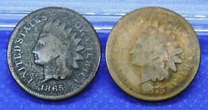 1865 & 1875 INDIAN HEAD CENTS