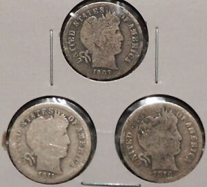 SILVER DIMES   LOW BUDGET BARBERS   SET OF 3 COINS   1907 / 1911 / 1916  BB59