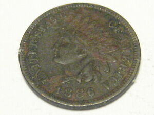 1886 TY I INDIAN HEAD CENT XF