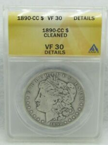 Click now to see the BUY IT NOW Price! 1890 CC US MORGAN SILVER DOLLAR ANACS VF 30 CLEANED