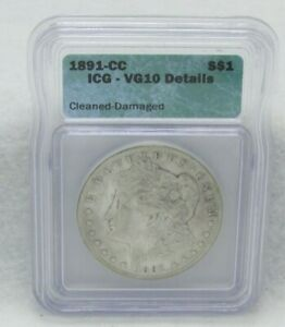 Click now to see the BUY IT NOW Price! 1891 CC US MORGAN SILVER DOLLAR ICG VG 10 DETAILS  CLEANED  DAMAGED