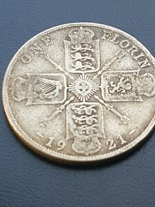 1921 GEORGE V SILVER FLORIN/ TWO SHILLINGS  2/   COIN.