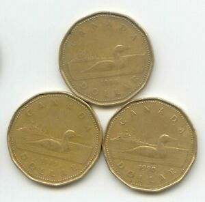 CANADA 1988 1989 1990 LOONIES LOONIE CANADIAN ONE DOLLAR 1 COIN $1 EXACT COINS