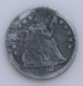 1852 SILVER SEATED LIBERTY HALF DIME LOW GRADE