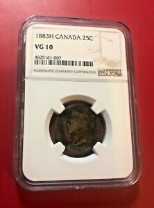 CANADA 25 CENTS 1883 H NGC VG 10