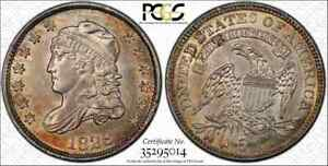 1829 CAPPED BUST HALF DIME PCGS MS62 FLASHY AND CHOICE