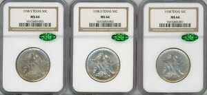 Click now to see the BUY IT NOW Price! 1938  P D & S  SILVER COMMEMORATIVE TEXAS 50C SET MS 66   NGC
