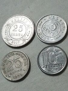 LOT OF BRAZIL BELIZE INDONEISA RP FOREIGN COINS