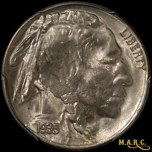 1935 S MS65 PCGS 5C BUFFALO NICKEL GREAT MINT LUSTER STRONG HORN & TAIL