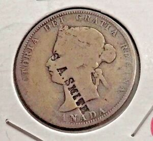 CANADA 1874 H 25 CENTS SILVER QUARTER COUNTER STAMP  COUNTER STAMPED S.A. SMITH
