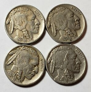 1920 BUFFALO INDIAN HEAD NICKEL F / VF LOT OF 4