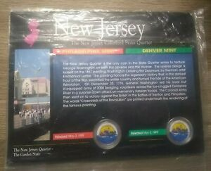 1999 NEW JERSEY P & D COLORIZED STATE QUARTERS WITH COA