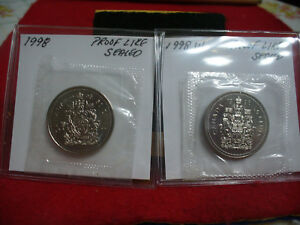 Click now to see the BUY IT NOW Price! 1998 AND 1998 W  CANADA    HALF DOLLARS  FIFTY   50 CENT   2 COINS  PROOF LIKE