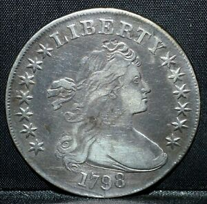 1798 $1 DRAPED BUST SILVER DOLLAR  VF DETAILS  HERALDIC EAGLE  TRUSTED