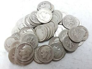 1951 S SILVER ROOSEVELT DIME IN AVERAGE CIRCULATED CONDITION ROLL OF 50 COINS