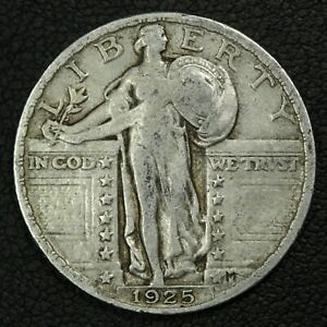 1925 STANDING LIBERTY SILVER QUARTER   CLEANED